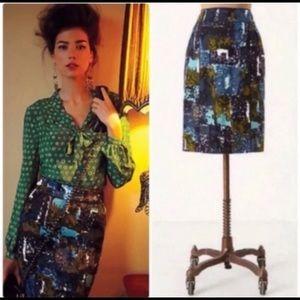 NWOT Anthropologie Tabitha Liquid Acres Skirt